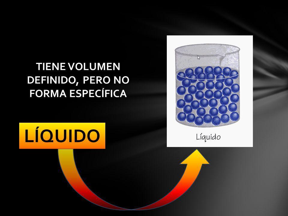 LÍQUIDO TIENE VOLUMEN DEFINIDO, PERO NO FORMA ESPECÍFICA
