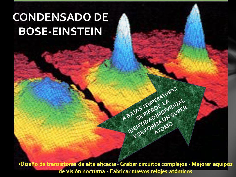 A BAJAS TEMPERATURAS SE PIERDE LA IDENTIDAD INDIVIDUAL Y SE FORMA UN SUPER ÁTOMO CONDENSADO DE BOSE-EINSTEIN Diseño de transistores de alta eficacia -