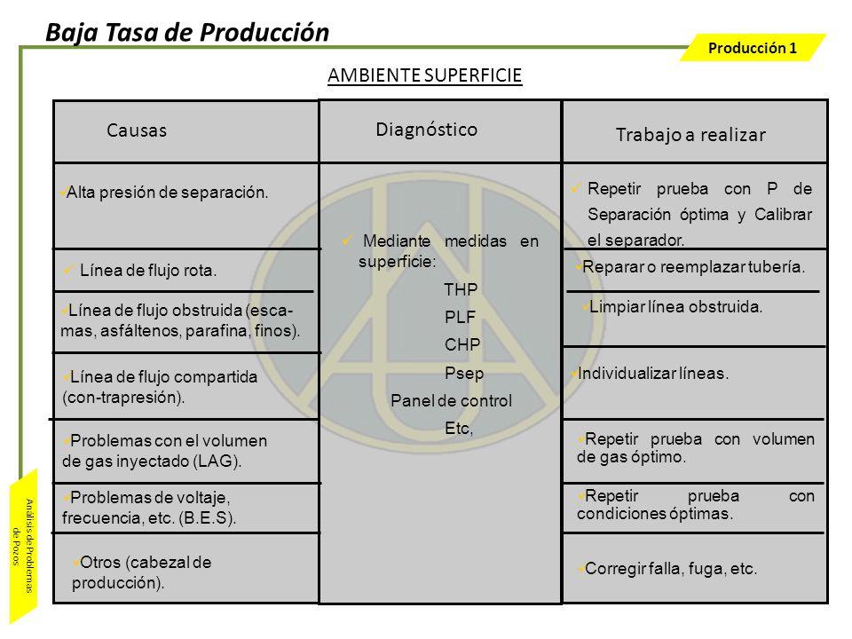 Producción 1 Análisis de Problemas de Pozos Trabajo a realizar Diagnóstico Mediante medidas en superficie: THP PLF CHP Psep Panel de control Etc, Caus