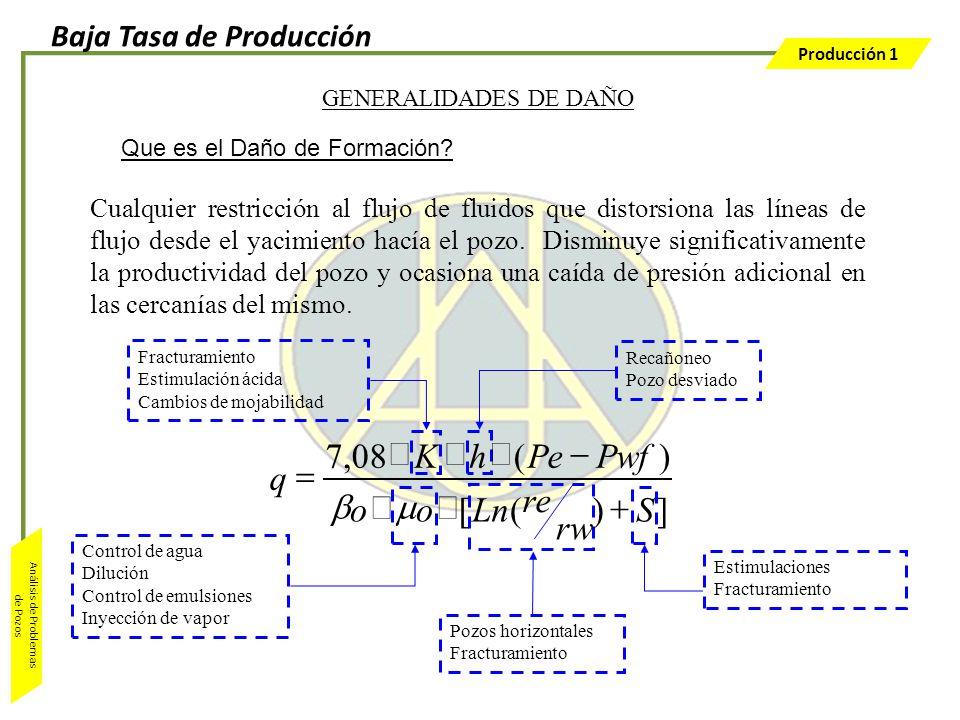 Producción 1 Análisis de Problemas de Pozos GENERALIDADES DE DAÑO Control de agua Dilución Control de emulsiones Inyección de vapor Pozos horizontales