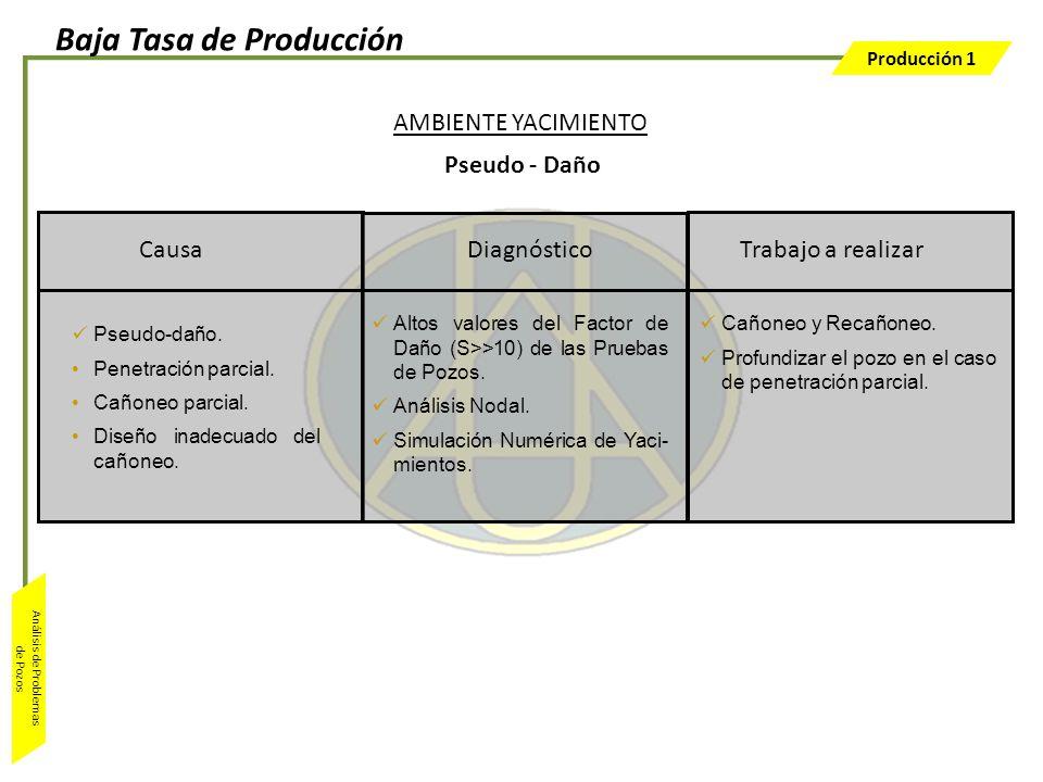 Producción 1 Análisis de Problemas de Pozos Trabajo a realizar Altos valores del Factor de Daño (S>>10) de las Pruebas de Pozos. Análisis Nodal. Simul