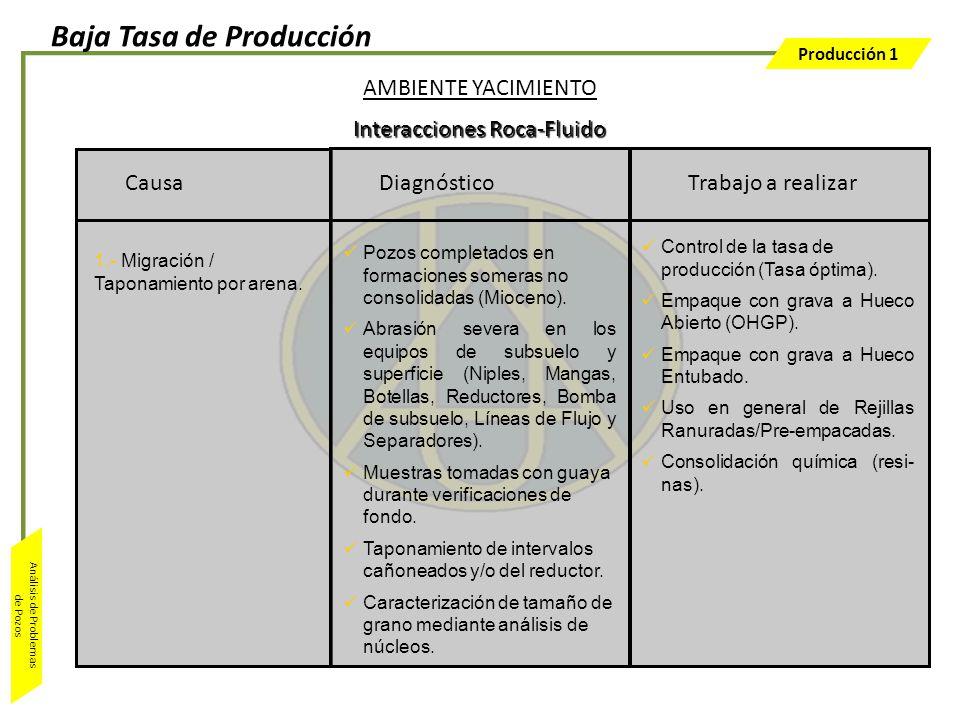 Producción 1 Análisis de Problemas de Pozos Trabajo a realizar Control de la tasa de producción (Tasa óptima). Empaque con grava a Hueco Abierto (OHGP