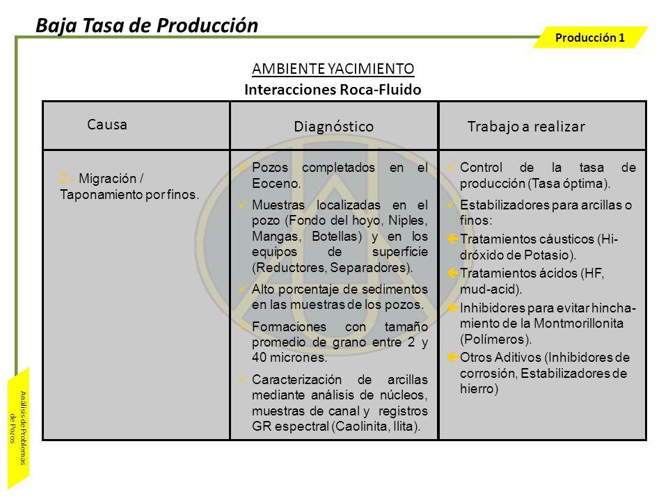 Producción 1 Análisis de Problemas de Pozos Trabajo a realizar Control de la tasa de producción (Tasa óptima). Estabilizadores para arcillas o finos: