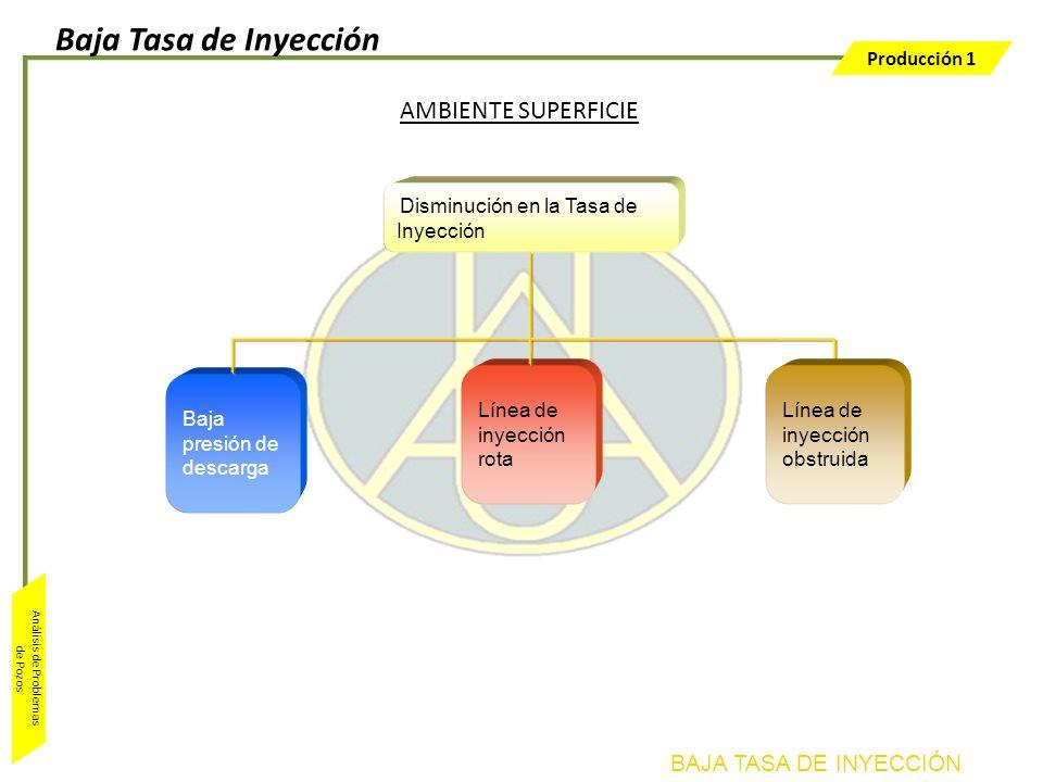 Producción 1 Análisis de Problemas de Pozos AMBIENTE SUPERFICIE Disminución en la Tasa de Inyección Baja presión de descarga Línea de inyección rota L