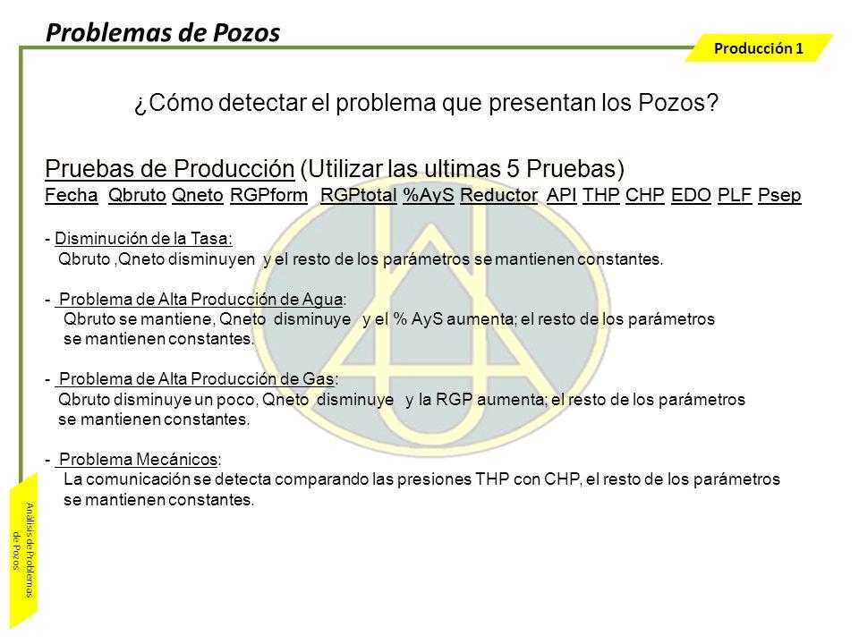 Producción 1 Análisis de Problemas de Pozos Pruebas de Producción (Utilizar las ultimas 5 Pruebas) Fecha Qbruto Qneto RGPform RGPtotal %AyS Reductor A