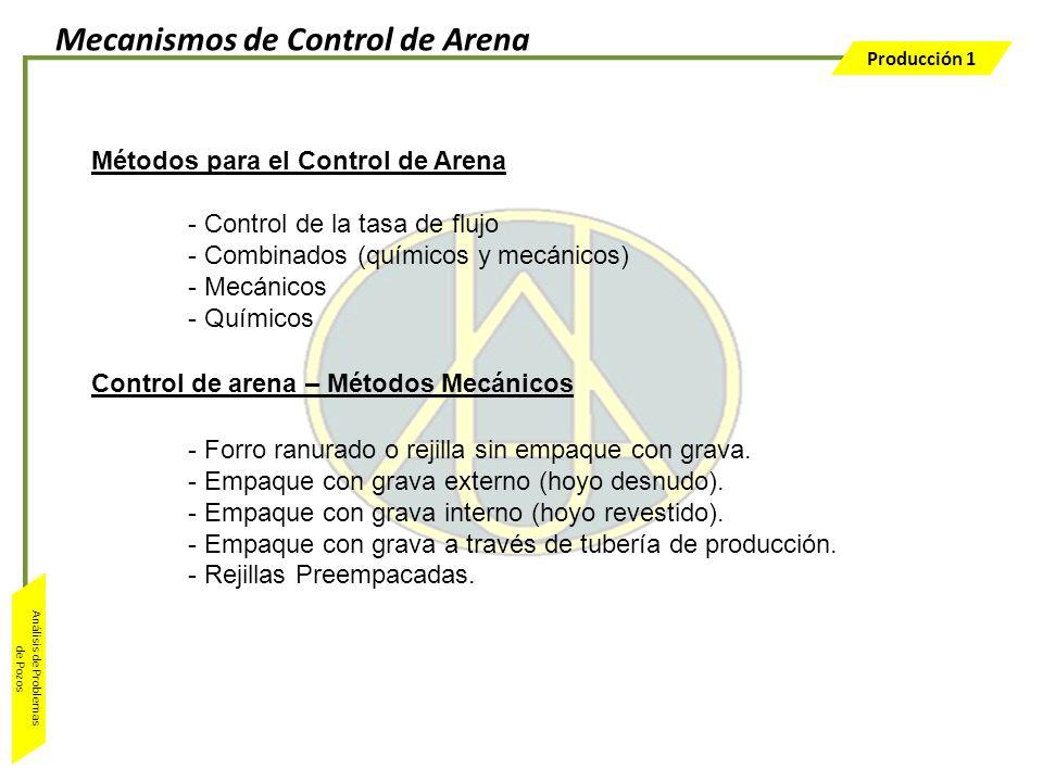 Producción 1 Análisis de Problemas de Pozos Métodos para el Control de Arena - Control de la tasa de flujo - Combinados (químicos y mecánicos) - Mecán