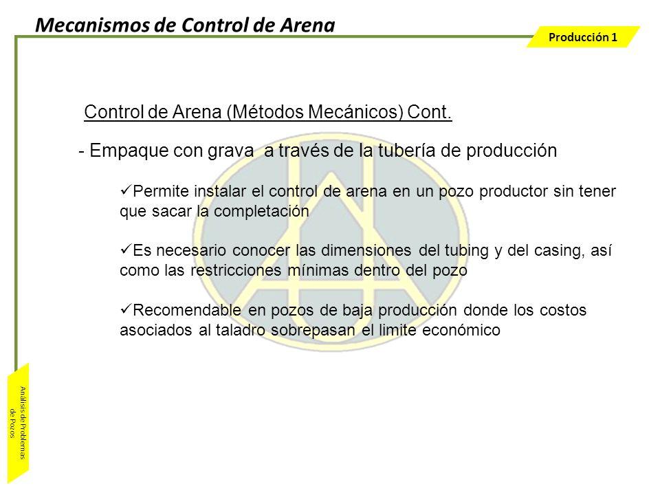 Producción 1 Análisis de Problemas de Pozos - Empaque con grava a través de la tubería de producción Permite instalar el control de arena en un pozo p