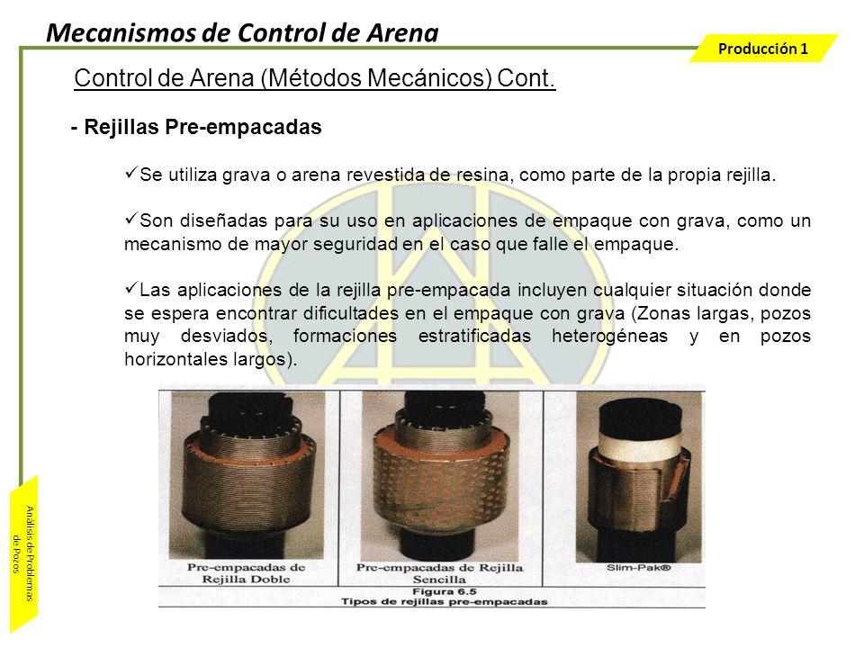 Producción 1 Análisis de Problemas de Pozos - Rejillas Pre-empacadas Se utiliza grava o arena revestida de resina, como parte de la propia rejilla. So