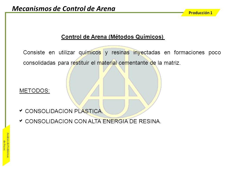 Producción 1 Análisis de Problemas de Pozos Control de Arena (Métodos Químicos) Consiste en utilizar químicos y resinas inyectadas en formaciones poco