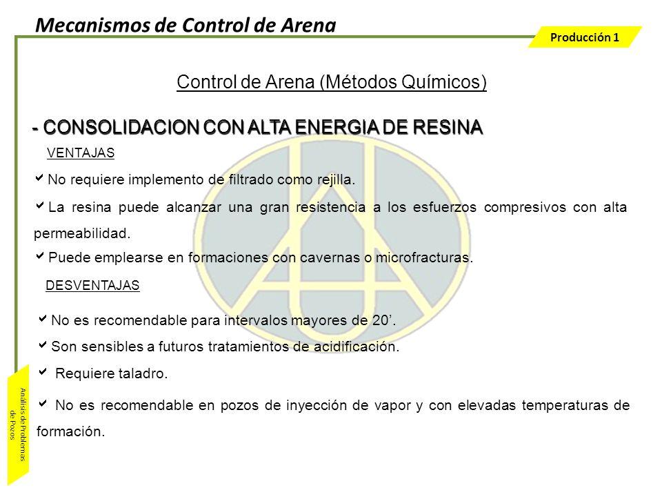 Producción 1 Análisis de Problemas de Pozos Control de Arena (Métodos Químicos) VENTAJAS No requiere implemento de filtrado como rejilla. La resina pu