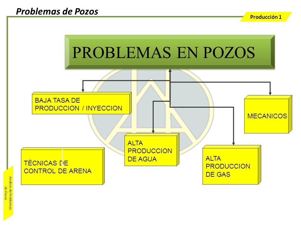 Producción 1 Análisis de Problemas de Pozos PROBLEMAS EN POZOS BAJA TASA DE PRODUCCION / INYECCION ALTA PRODUCCION DE AGUA ALTA PRODUCCION DE GAS MECA