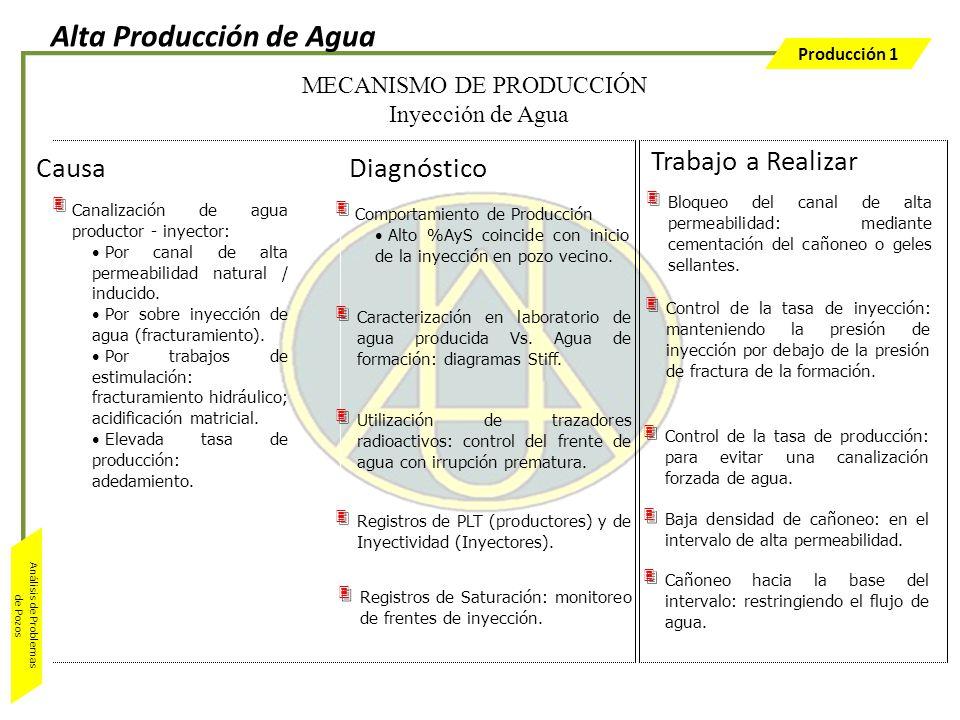 Producción 1 Análisis de Problemas de Pozos Comportamiento de Producción Alto %AyS coincide con inicio de la inyección en pozo vecino. Caracterización