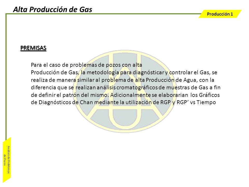Producción 1 Análisis de Problemas de Pozos Para el caso de problemas de pozos con alta Producción de Gas, la metodología para diagnósticar y controla