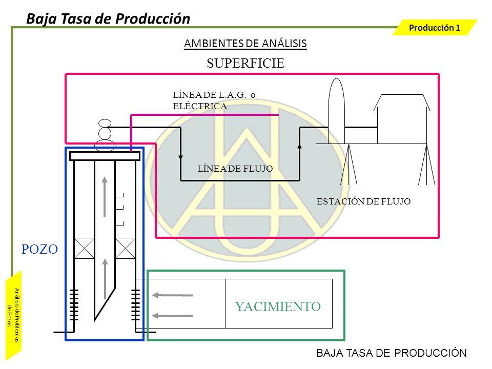 Producción 1 Análisis de Problemas de Pozos YACIMIENTO AMBIENTES DE ANÁLISIS ESTACIÓN DE FLUJO LÍNEA DE FLUJO LÍNEA DE L.A.G. o ELÉCTRICA POZO SUPERFI