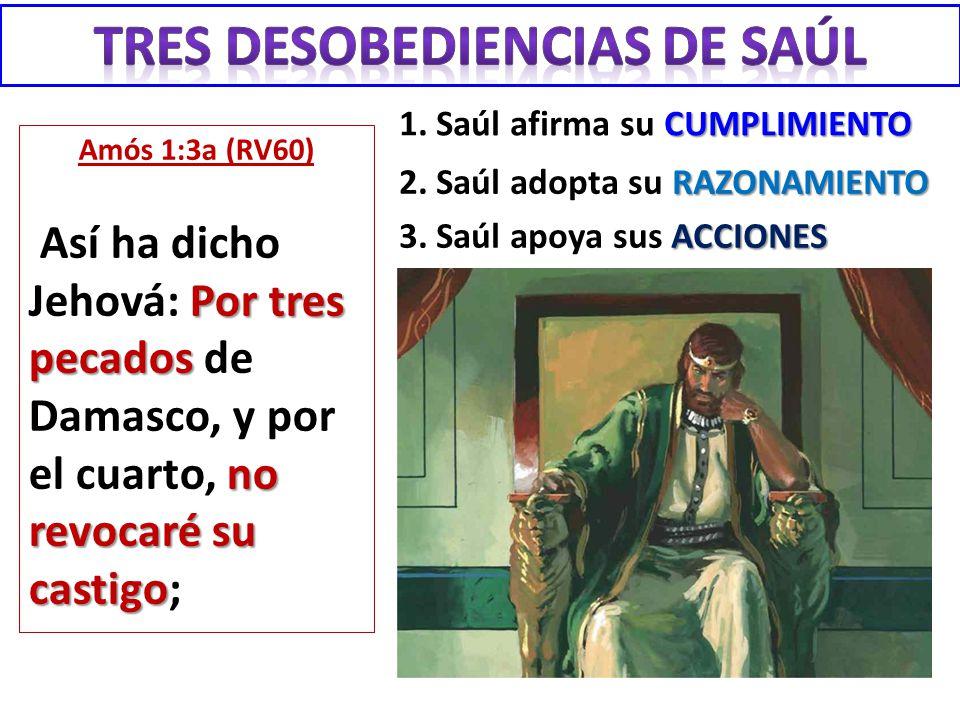 Amós 1:3a (RV60) Por tres pecados no revocaré su castigo Así ha dicho Jehová: Por tres pecados de Damasco, y por el cuarto, no revocaré su castigo; CU