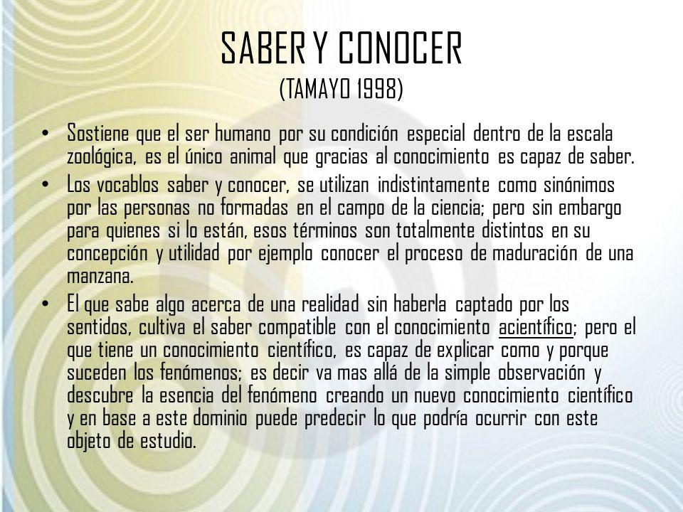 SABER Y CONOCER (TAMAYO 1998) Sostiene que el ser humano por su condición especial dentro de la escala zoológica, es el único animal que gracias al co