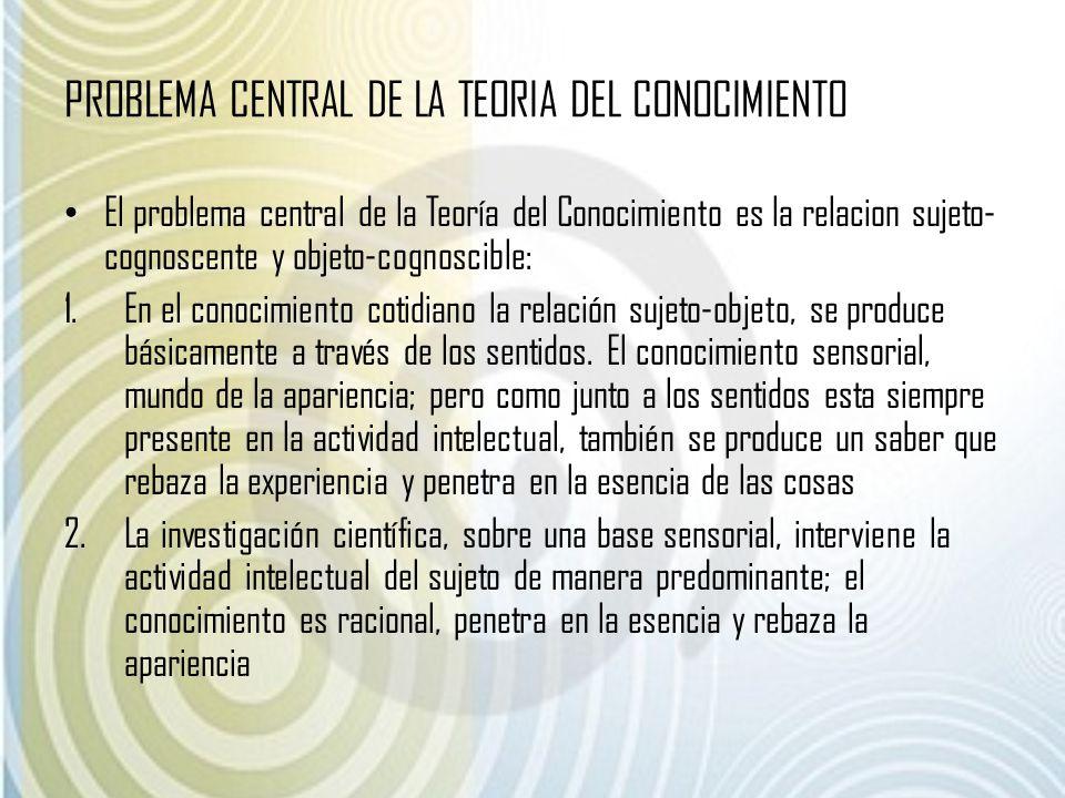 PROBLEMA CENTRAL DE LA TEORIA DEL CONOCIMIENTO El problema central de la Teoría del Conocimiento es la relacion sujeto- cognoscente y objeto-cognoscib