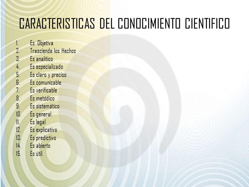 CARACTERISTICAS DEL CONOCIMIENTO CIENTIFICO 1.Es Objetiva 2.Trasciende los Hechos 3.Es analítico 4.Es especializado 5.Es claro y preciso 6.Es comunica