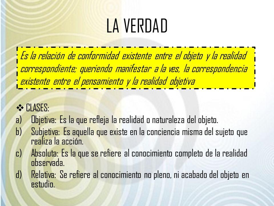 LA VERDAD CLASES: a)Objetiva: Es la que refleja la realidad o naturaleza del objeto. b)Subjetiva: Es aquella que existe en la conciencia misma del suj