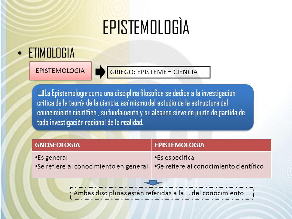 EPISTEMOLOGÌA ETIMOLOGIA EPISTEMOLOGIA GRIEGO: EPISTEME = CIENCIA La Epistemología como una disciplina filosófica se dedica a la investigación critica