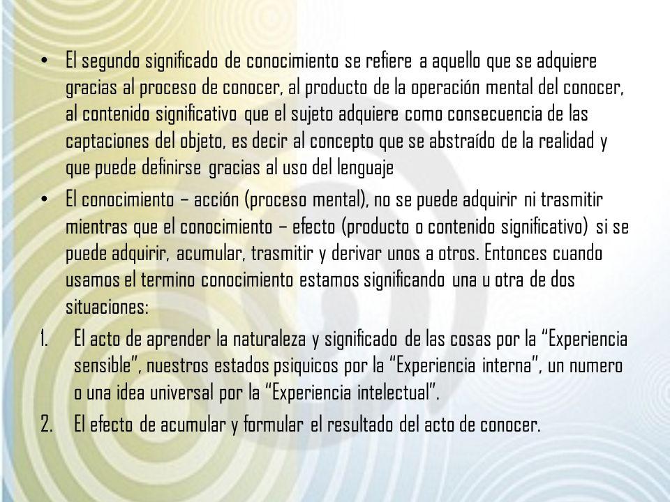 El segundo significado de conocimiento se refiere a aquello que se adquiere gracias al proceso de conocer, al producto de la operación mental del cono