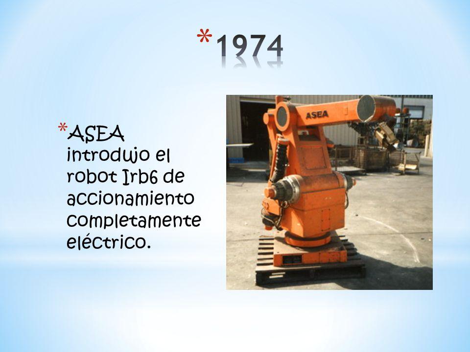 * ASEA introdujo el robot Irb6 de accionamiento completamente eléctrico.