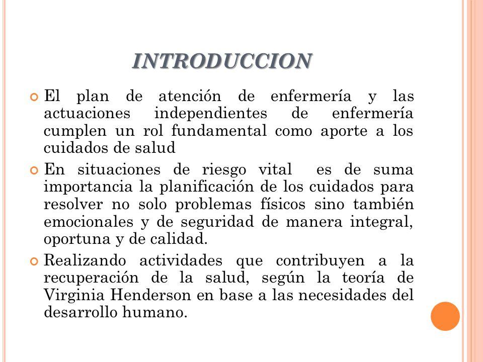 INTRODUCCION El plan de atención de enfermería y las actuaciones independientes de enfermería cumplen un rol fundamental como aporte a los cuidados de