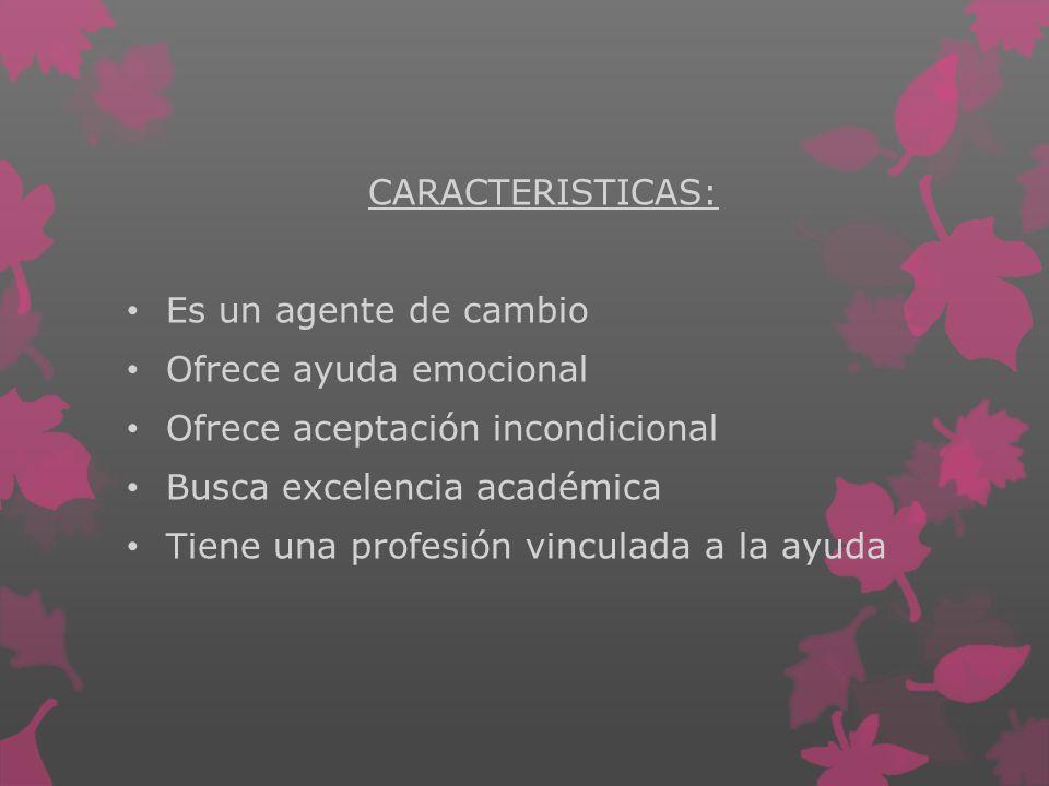 CARACTERISTICAS: Es un agente de cambio Ofrece ayuda emocional Ofrece aceptación incondicional Busca excelencia académica Tiene una profesión vinculad