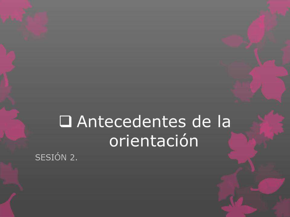 Antecedentes de la orientación SESIÓN 2.