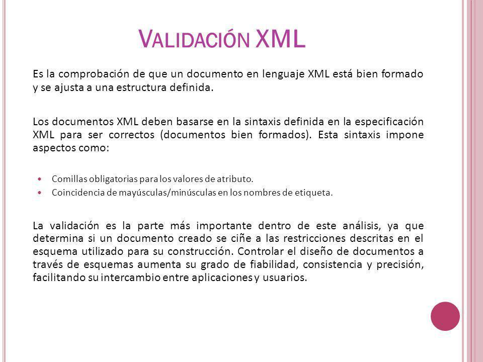 V ALIDACIÓN XML Es la comprobación de que un documento en lenguaje XML está bien formado y se ajusta a una estructura definida. Los documentos XML deb