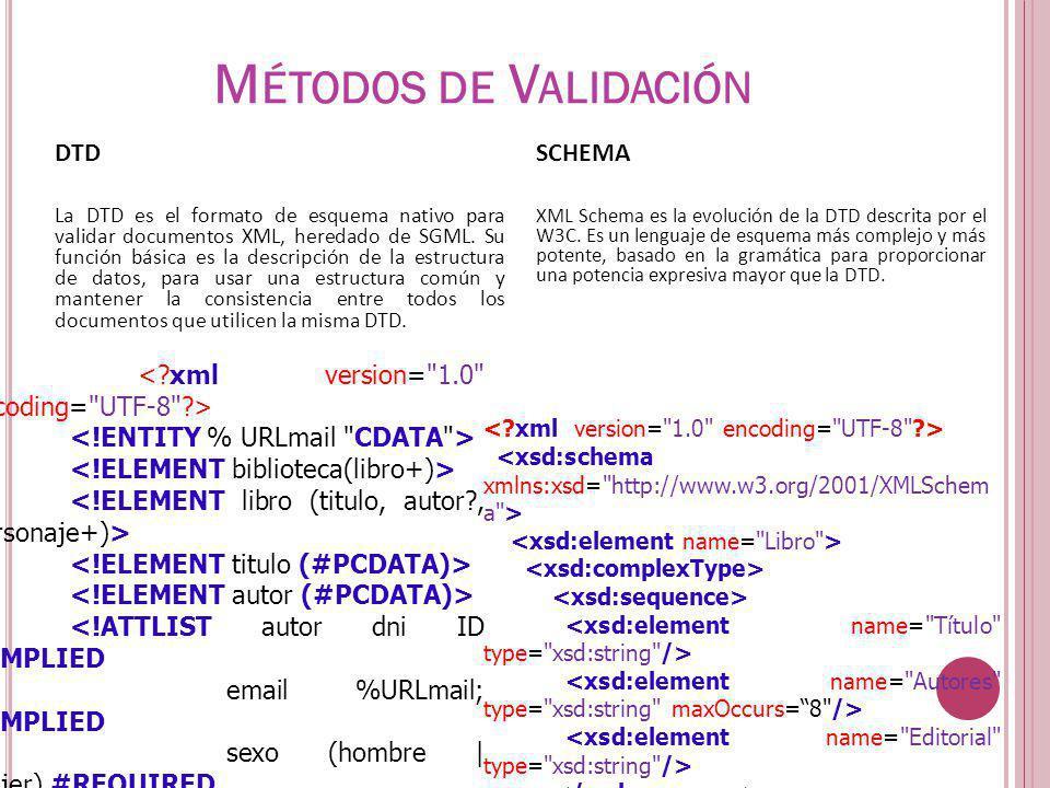 DTD La DTD es el formato de esquema nativo para validar documentos XML, heredado de SGML. Su función básica es la descripción de la estructura de dato