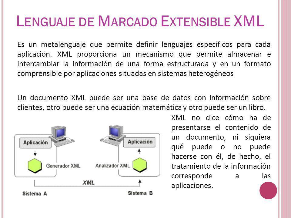 L ENGUAJE DE M ARCADO E XTENSIBLE XML Es un metalenguaje que permite definir lenguajes específicos para cada aplicación. XML proporciona un mecanismo