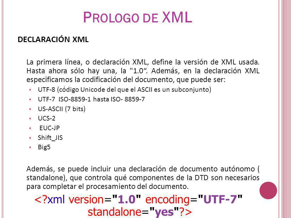 DECLARACIÓN XML La primera línea, o declaración XML, define la versión de XML usada. Hasta ahora sólo hay una, la