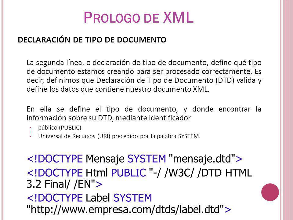 DECLARACIÓN DE TIPO DE DOCUMENTO La segunda línea, o declaración de tipo de documento, define qué tipo de documento estamos creando para ser procesado