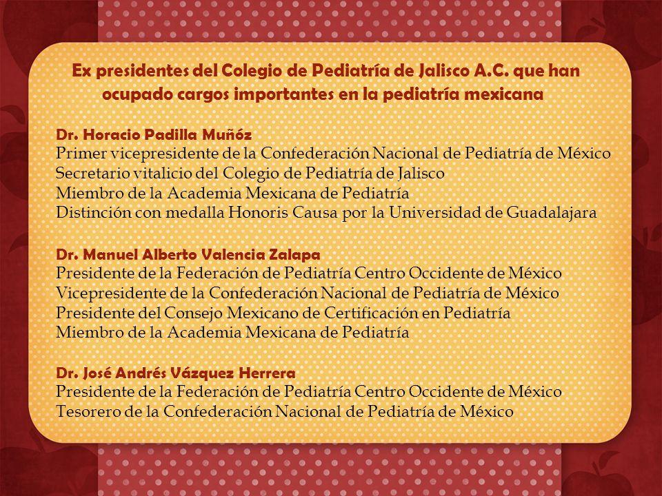 información El Colegio de Pediatría de Jalisco A.C. tiene una membresía de 1265 socios en el Estado, de los cuales aproximadamente el 30% no se han ac