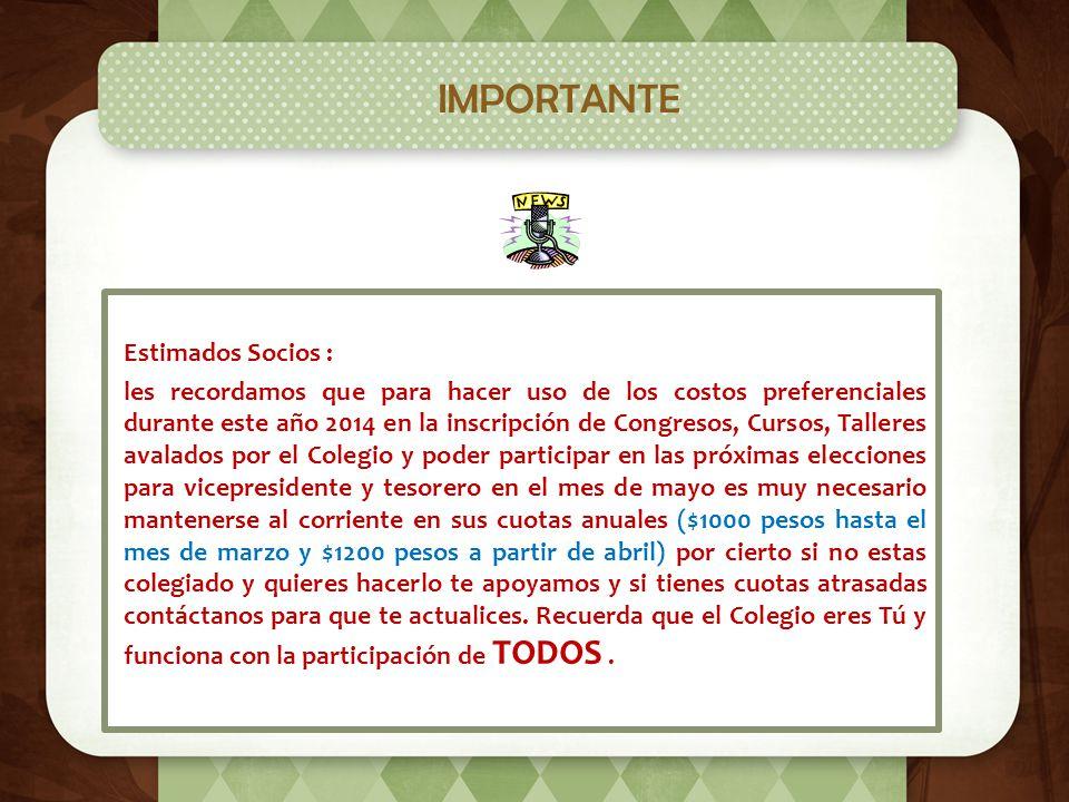 Integración del Comité Estatal Hacemos de su conocimiento que a partir del día 7 de febrero del 2014 nuestro Colegio de Pediatría de Jalisco forma par