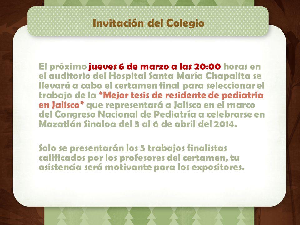 Próximo evento social El Colegio de Pediatría de Jalisco A.