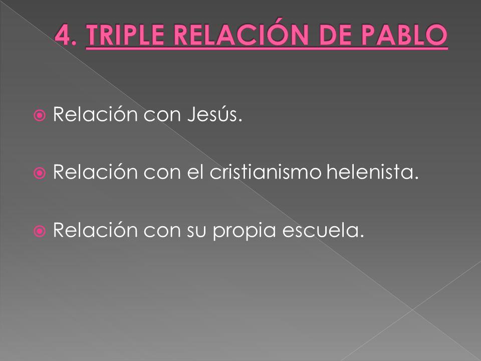 Relación con Jesús. Relación con el cristianismo helenista. Relación con su propia escuela.