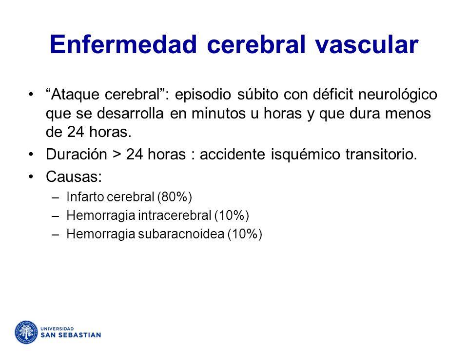 Enfermedad cerebral vascular Ataque cerebral: episodio súbito con déficit neurológico que se desarrolla en minutos u horas y que dura menos de 24 hora