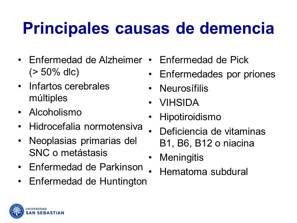 Principales causas de demencia Enfermedad de Alzheimer (> 50% dlc) Infartos cerebrales múltiples Alcoholismo Hidrocefalia normotensiva Neoplasias prim
