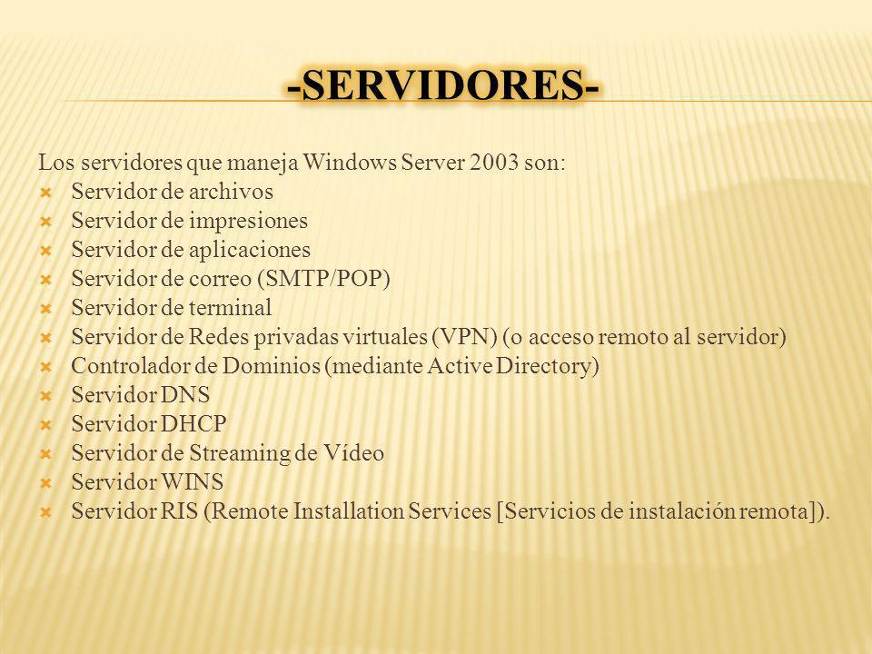 Los servidores que maneja Windows Server 2003 son: Servidor de archivos Servidor de impresiones Servidor de aplicaciones Servidor de correo (SMTP/POP)