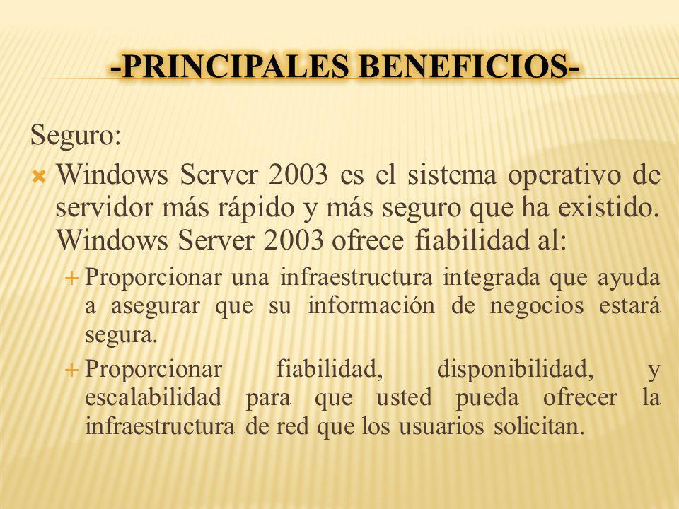 Seguro: Windows Server 2003 es el sistema operativo de servidor más rápido y más seguro que ha existido. Windows Server 2003 ofrece fiabilidad al: Pro
