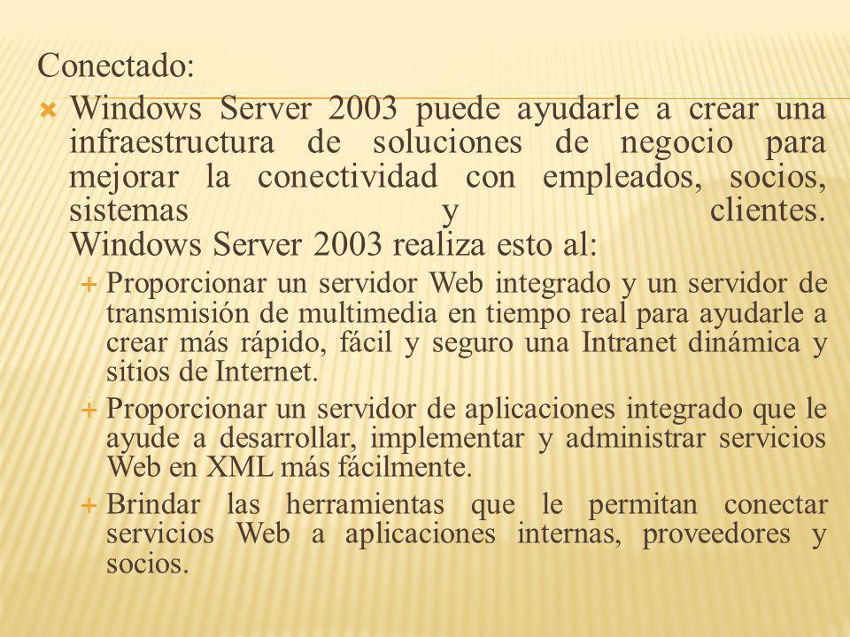 Conectado: Windows Server 2003 puede ayudarle a crear una infraestructura de soluciones de negocio para mejorar la conectividad con empleados, socios,