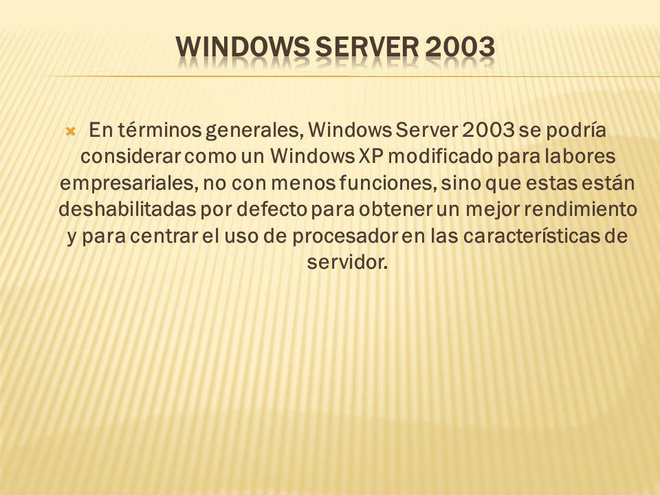 En términos generales, Windows Server 2003 se podría considerar como un Windows XP modificado para labores empresariales, no con menos funciones, sino