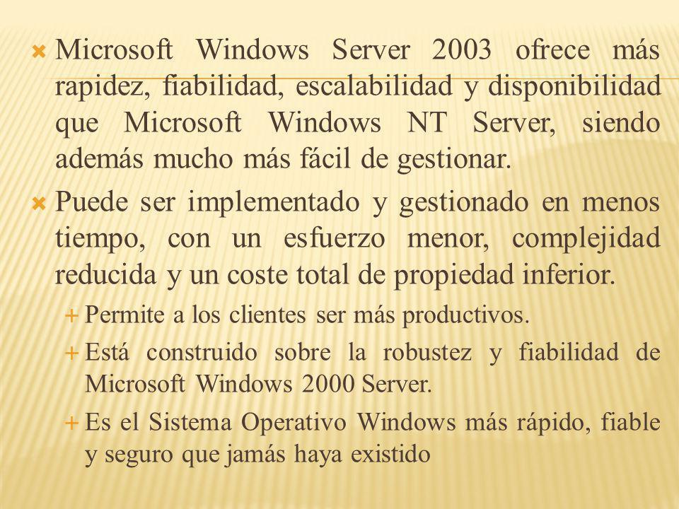 Microsoft Windows Server 2003 ofrece más rapidez, fiabilidad, escalabilidad y disponibilidad que Microsoft Windows NT Server, siendo además mucho más
