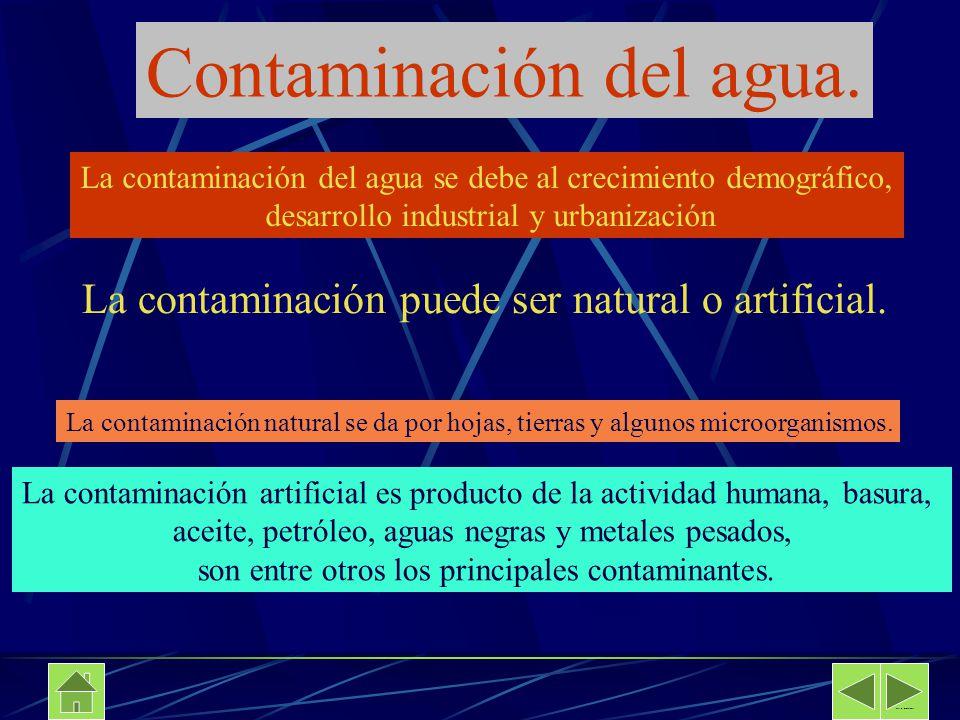 Contaminación del agua. La contaminación del agua se debe al crecimiento demográfico, desarrollo industrial y urbanización La contaminación puede ser