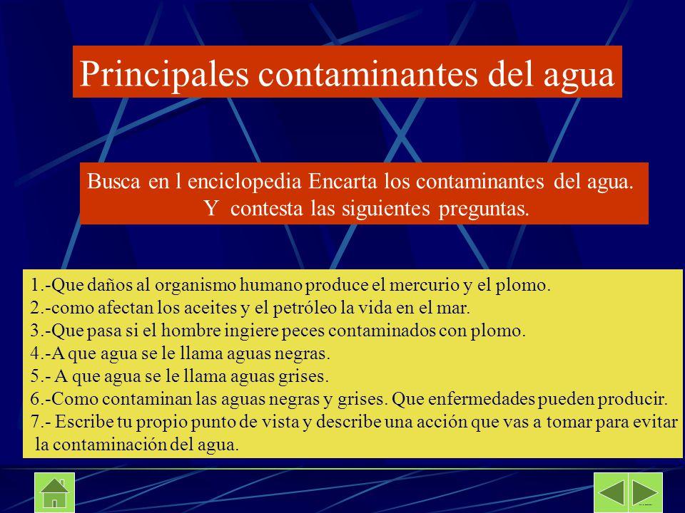 Principales contaminantes del agua Busca en l enciclopedia Encarta los contaminantes del agua. Y contesta las siguientes preguntas. 1.-Que daños al or