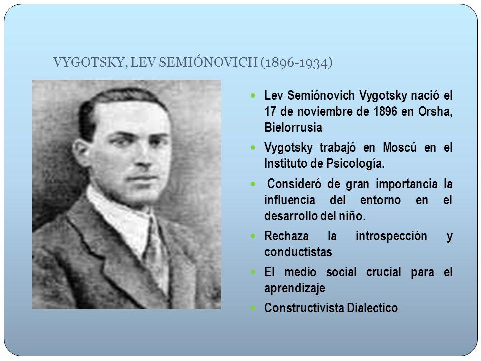 VYGOTSKY, LEV SEMIÓNOVICH (1896-1934) Lev Semiónovich Vygotsky nació el 17 de noviembre de 1896 en Orsha, Bielorrusia Vygotsky trabajó en Moscú en el