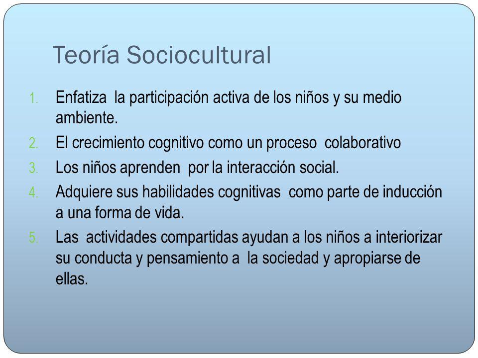 Teoría Sociocultural 1. Enfatiza la participación activa de los niños y su medio ambiente. 2. El crecimiento cognitivo como un proceso colaborativo 3.