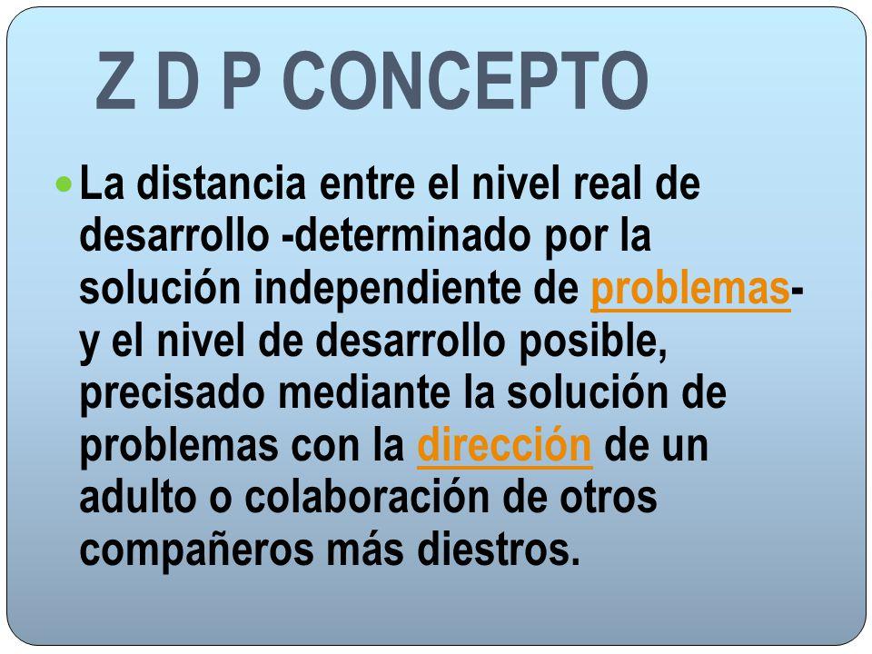 Z D P CONCEPTO La distancia entre el nivel real de desarrollo -determinado por la solución independiente de problemas- y el nivel de desarrollo posibl